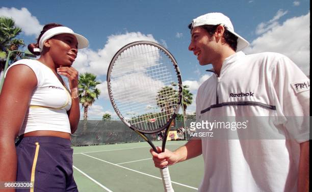 Boca Raton Florida French tennis ace Sebestien Grojean and 2001 US Open and Wimbledon Champion Venus Williams kidding each other during the fun and...