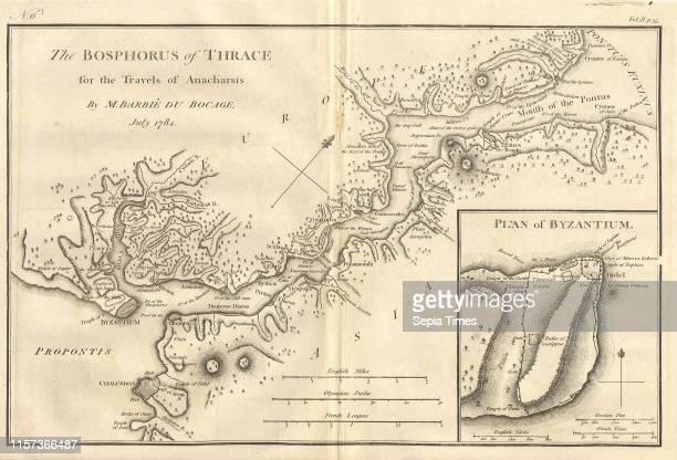 1784 Bocage Map of The Bosphorus and the City of Byzantium Istanbul Constantinople