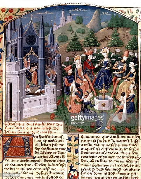 Boccace 'The Decameron' Meeting of ladies and lords in a garden of Florence Italy 15th century