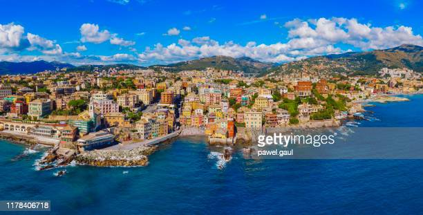 boccadasse neighborhood of genoa aerial view - genoa stock pictures, royalty-free photos & images