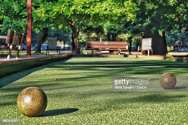 Bocce Balls On Grass In Park