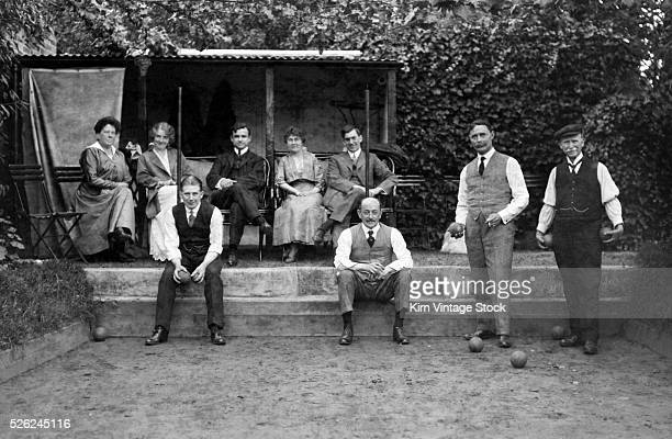 Boche ball court and players ca 1918