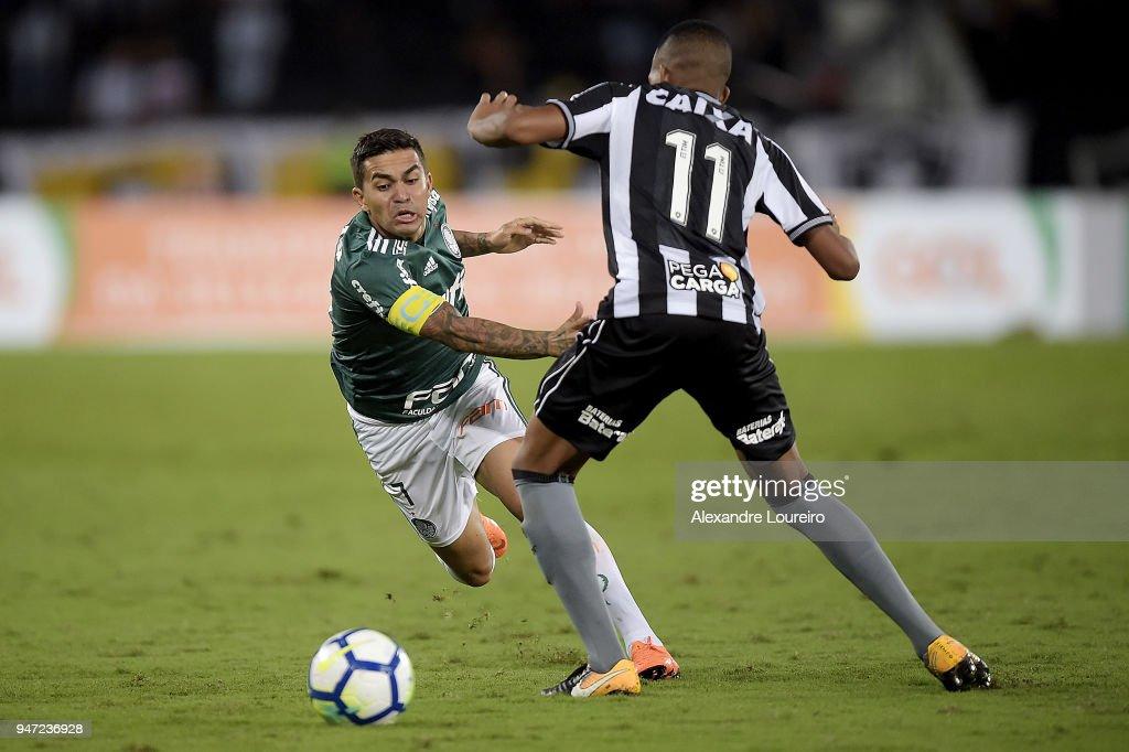 Bochecha (11) of Botafogo struggles for the ball with Dudu of Palmeiras during the match between Botafogo and Palmeiras as part of Brasileirao Series A 2018 at Engenhao Stadium on April 16, 2018 in Rio de Janeiro, Brazil.