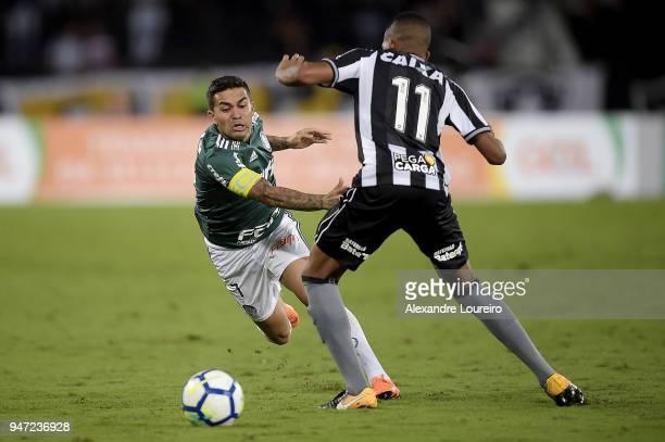 Bochecha of Botafogo struggles for the ball with Dudu of Palmeiras during the match between Botafogo and Palmeiras as part of Brasileirao Series A...