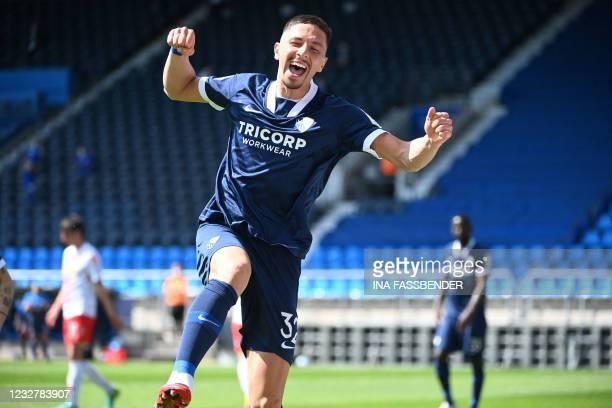 Bochum's Austrian midfielder Robert Zulj celebrates after scoring the 4-1 during the German second division Bundesliga football match VfL Bochum v...