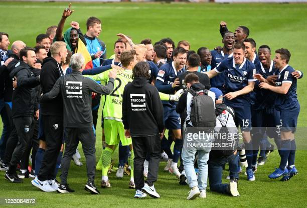 Bochum's players celebrate after winning 3-1 during the German second division Bundesliga football match VfL Bochum 1848 v SV Sandhausen in Bochum,...