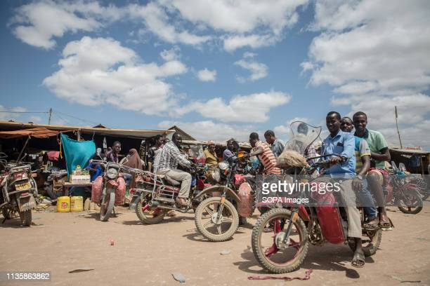 Boda boda riders seen pose in the refugee camp. Dadaab is one of the largest refugee camps in the world. More than 200,000 refugees live there -...