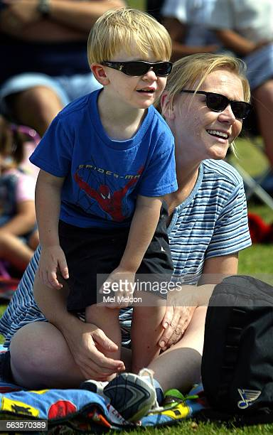 Bodde Stewart and his mother Kelsey watch performance of The Three Little Pigs at Barranca Vista Park in Ventura Digital image taken on 07/12/03
