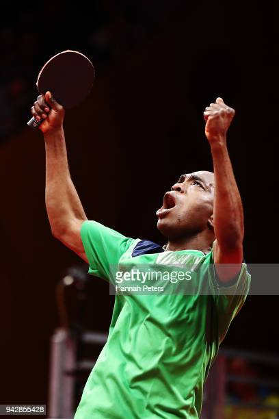 Bode Abiodun of Nigeria celebrates after winning his quarterfinal Table Tennis match against Heming Hu of Australia on day three of the Gold Coast...