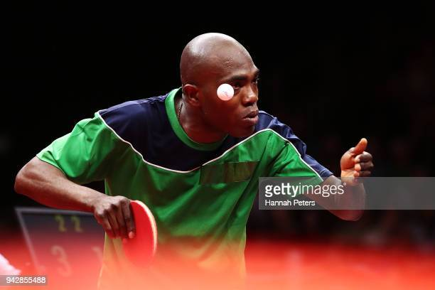 Bode Abiodun of Nigeria serves during his quarterfinal Table Tennis match against Heming Hu of Australia on day three of the Gold Coast 2018...