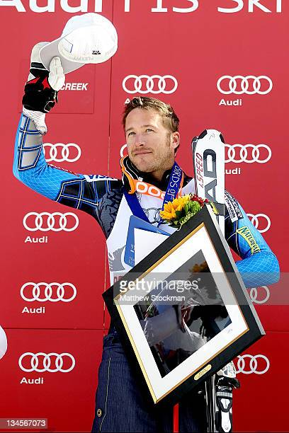 Bode Miller acknowledges the crowd from the victory podium after winning the men's downhill on the Birds of Prey at the Audi FIS World Cup on...