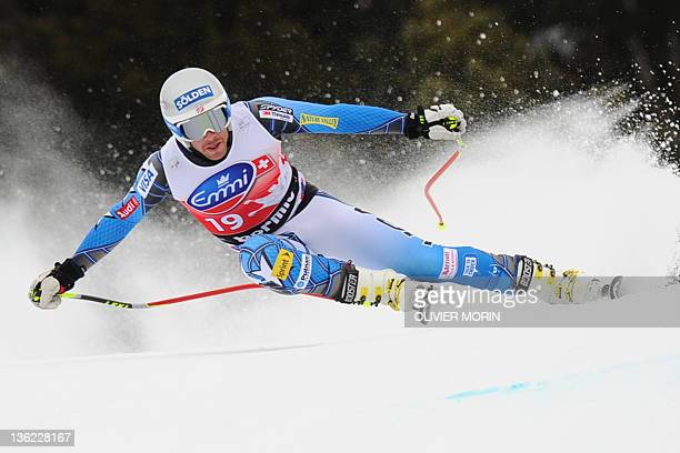 US Bode Miller competes on the way to the 5th place during the FIS Alpine World Cup Men's Downhill on December 29 2011 in Bormio Italy AFP PHOTO /...