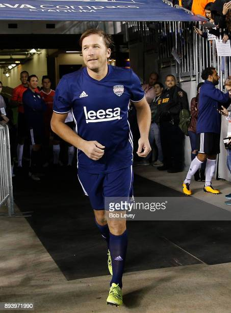 Bode Miller is introduced during the Kick In For Houston Charity Soccer Match at BBVA Compass Stadium on December 16 2017 in Houston Texas