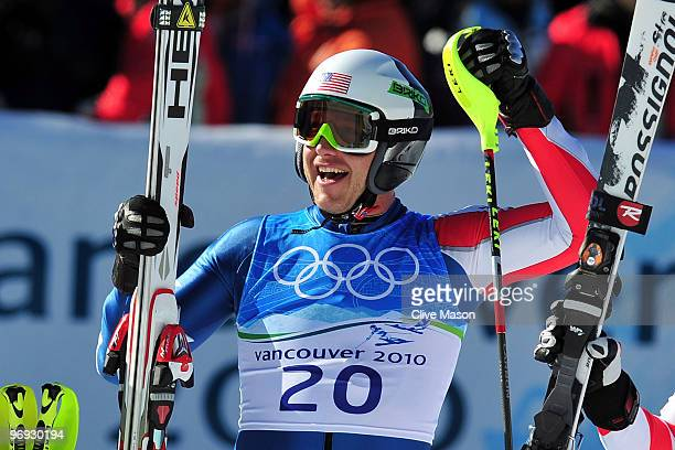 Bode Miller of the United States celebrates at the finish during the Alpine Skiing Men's Super Combined Slalom on day 10 of the Vancouver 2010 Winter...