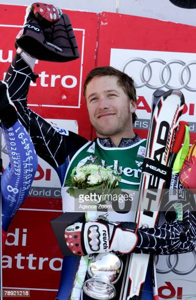 Bode Miller of the United States celebrates taking 1st place during the Alpine FIS Ski World Cup Men's Downhill on January 13 2008 in Wengen...