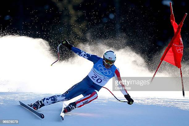 Bode Miller of the United States competes during the Alpine Skiing Men's Super Combined Downhill on day 10 of the Vancouver 2010 Winter Olympics at...