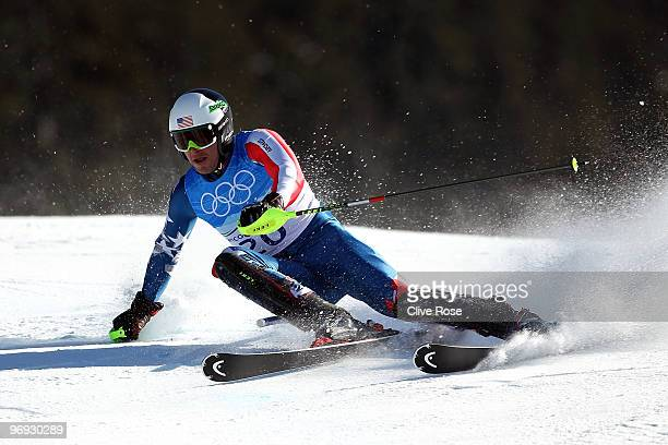 Bode Miller of the United States competes during the Alpine Skiing Men's Super Combined Slalom on day 10 of the Vancouver 2010 Winter Olympics at...