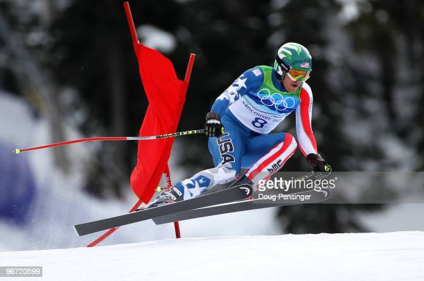 Bode Miller of the United States competes in the Alpine skiing Men's Downhill at Whistler Creekside during the Vancouver 2010 Winter Olympics on...