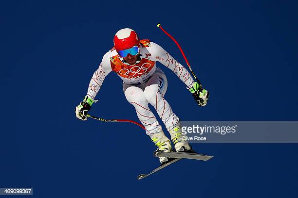 Bode Miller of the United States in action during a training session for the Alpine Skiing Men's Super Combined Downhill on day 6 of the Sochi 2014...