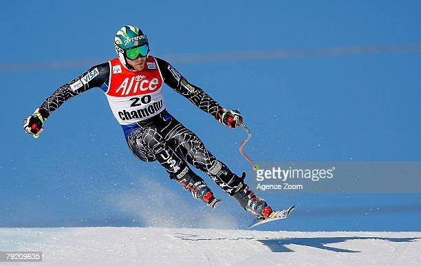 Bode Miller of the United States in action during the Alpine FIS Ski World Cup Men's Downhill Training on January 25 2008 in Chamonix France