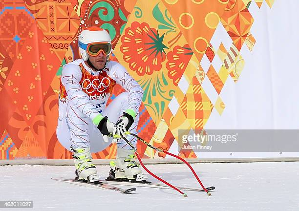 Bode Miller of the United States looks on after his run during the Alpine Men's Downhill on day two of the Sochi 2014 Winter Olympics at Rosa Khutor...