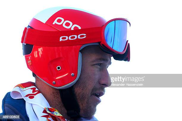 Bode Miller of the United States looks on before a training session for the Alpine Skiing Men's Super Combined Downhill on day 6 of the Sochi 2014...