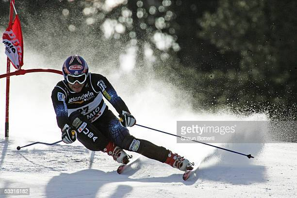 Bode Miller of the United States of America competes during the Mens Super G at the FIS Alpine World Ski Championships 2005 on January 29 2005 in...