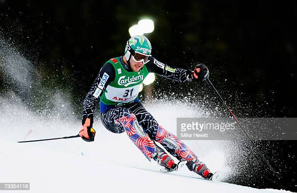 Bode Miller of the United States of America competes during the Men's Slalom on day fifteen of the FIS World Ski Championships on February 17, 2007...