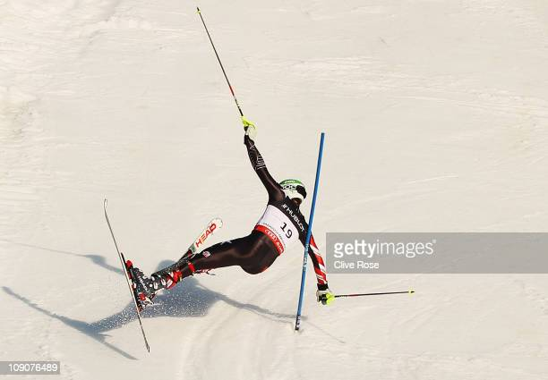 Bode Miller of the United States of America falls while skiing in the Slalom segment of the Men's Super Combined during the Alpine FIS Ski World...