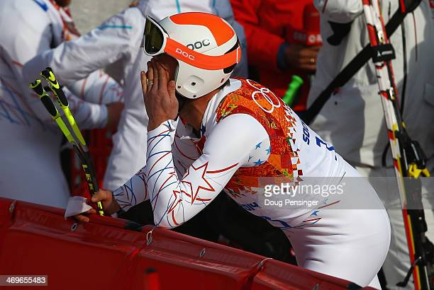 Bode Miller of the United States reacts during the Alpine Skiing Men's Super-G on day 9 of the Sochi 2014 Winter Olympics at Rosa Khutor Alpine...