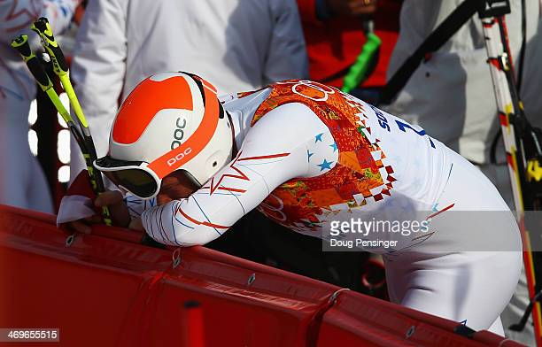 Bode Miller of the United States reacts during the Alpine Skiing Men's SuperG on day 9 of the Sochi 2014 Winter Olympics at Rosa Khutor Alpine Center...
