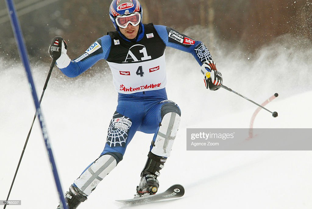 Bode Miller of the United States skis during his attempt in the Men's Slalom at the FIS Alpine Ski World Cup 2004, held on February 15, 2004 in Saint Anton, Austria. Miller went on to take gold. with a total time of 1min 34.60