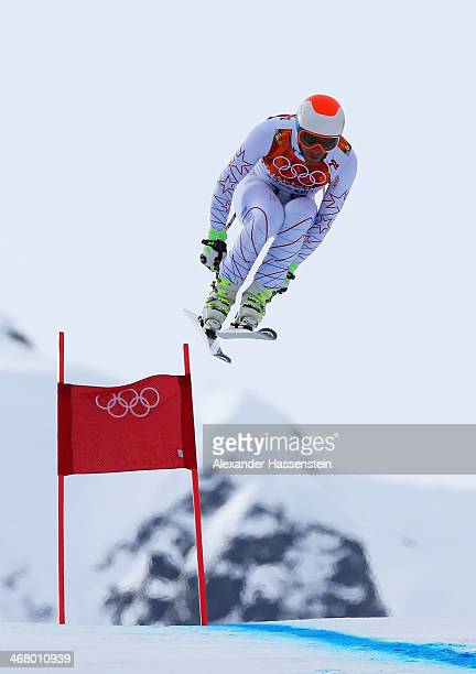 Bode Miller of the United States skis during the Alpine Men's Downhill on day two of the Sochi 2014 Winter Olympics at Rosa Khutor Alpine Center on...