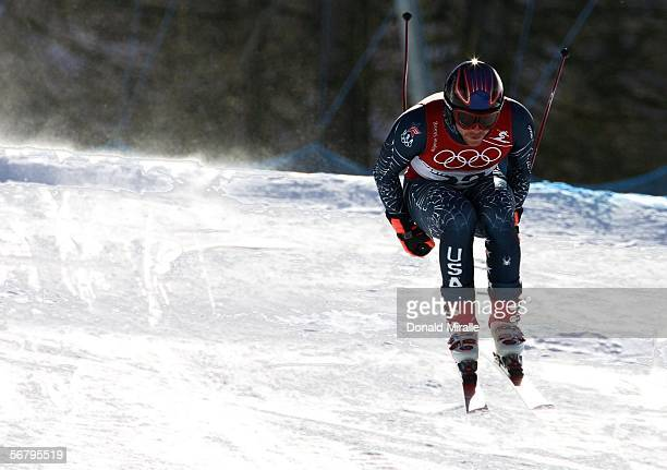 Bode Miller of the United States skis during the Men's Downhill training prior to the Turin 2006 Winter Olympic Games on February 9, 2006 in...