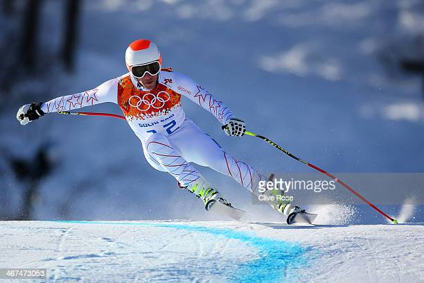 Bode Miller of the United States skis during training for the Alpine Skiing Men's Downhill ahead of the Sochi 2014 Winter Olympics at Rosa Khutor...