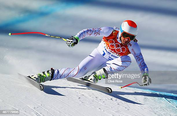 Bode Miller of the United States skis during training for the Alpine Skiing Men's Downhill during the Sochi 2014 Winter Olympics at Rosa Khutor...