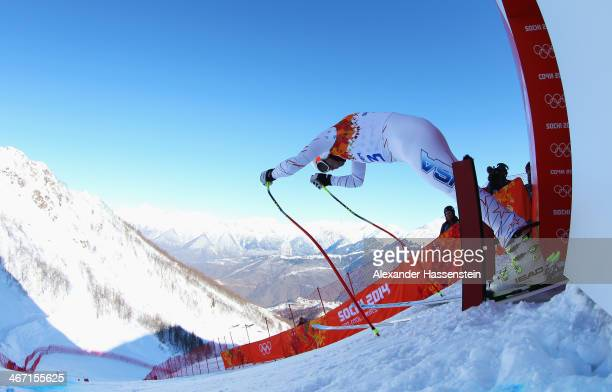 Bode Miller of the United States starts a run during training for the Alpine Skiing Men's Downhill ahead of the Sochi 2014 Winter Olympics at Rosa...