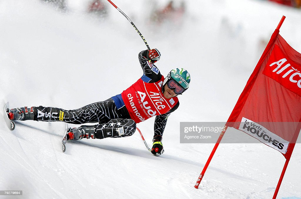 Bode Miller of the United States takes 1st place during the FIS Alpine ski World cup World Cup Men's Super Combined Downhill event on January 27, 2008 in Chamonix, France.