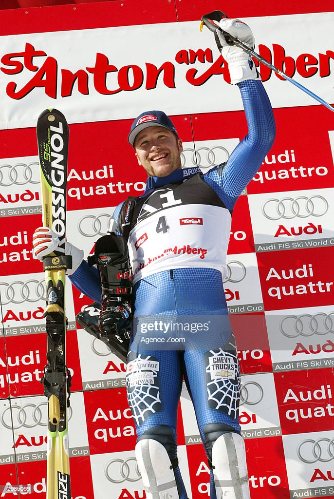 Bode Miller of the United States takes gold in the Men's Slalom at the FIS Alpine Ski World Cup 2004, held on February 15, 2004 in Saint Anton, Austria.