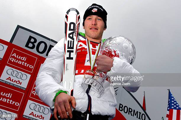 Bode Miller of the United States wins the overall globe during the Alpine FIS Ski World Cup Men's Overall on March 16 2008 in Bormio Italy