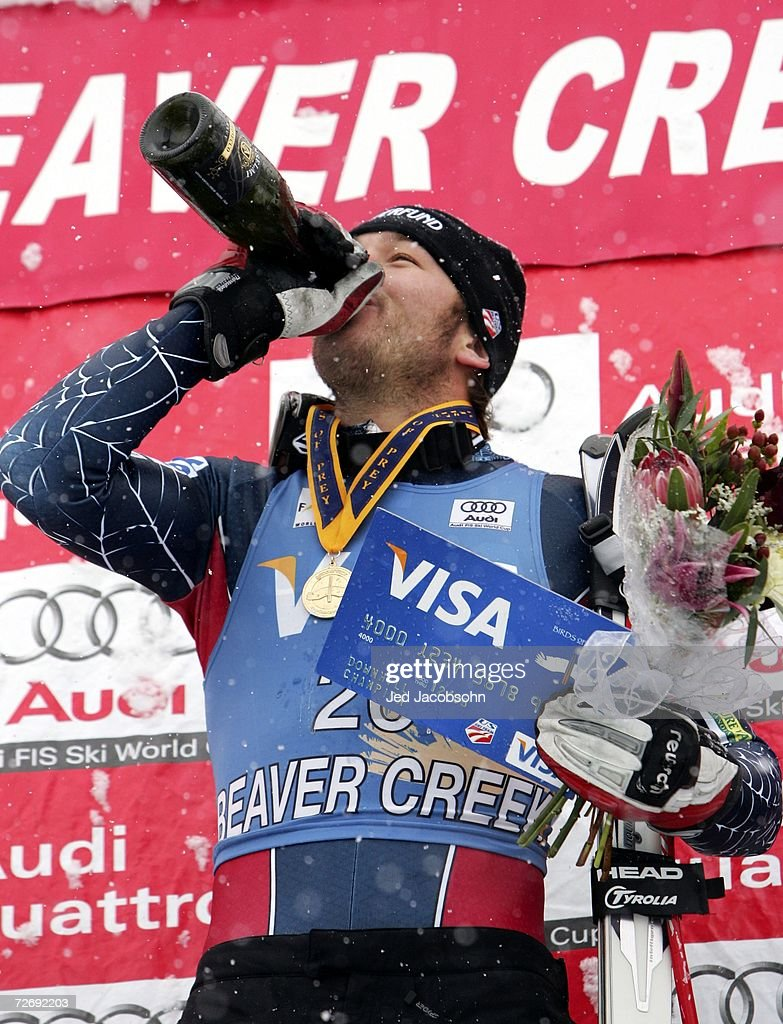 Bode Miller of the US celebrates after winning the FIS Alpine World Cup Mens Downhill on Birds of Prey at Beaver Creek on December 1, 2006 in Avon, Colorado.