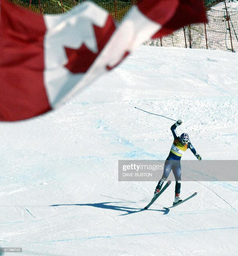 Bode Miller of the US loses control on the Men's Super-G course 28 November 2004 at the Lake Louise Ski Resort in Lake Louise, Canada. Miller had a time of 1:28.18 to place first in the event.