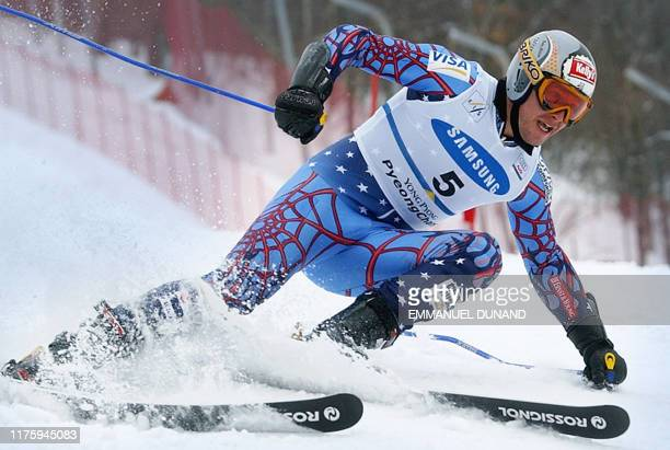 Bode Miller of the US powers his way to third place 01 March 2003 during the World Cup Men's Giant Slalom in Yongpyong some 250 kilometres east of...