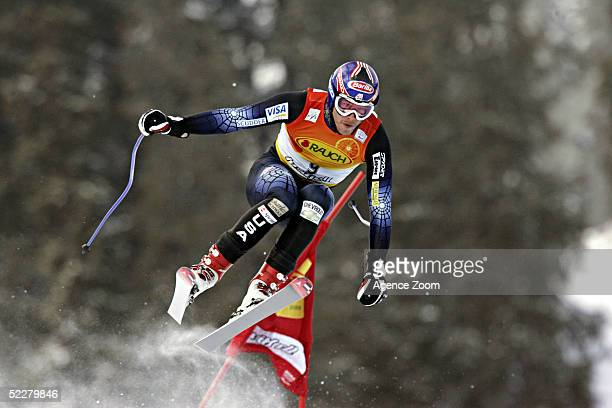 Bode Miller of the USA competes during his fourth place finish in the FIS Alpine Ski World Cup 2005 - Men's Downhill on March 5, 2005 at...