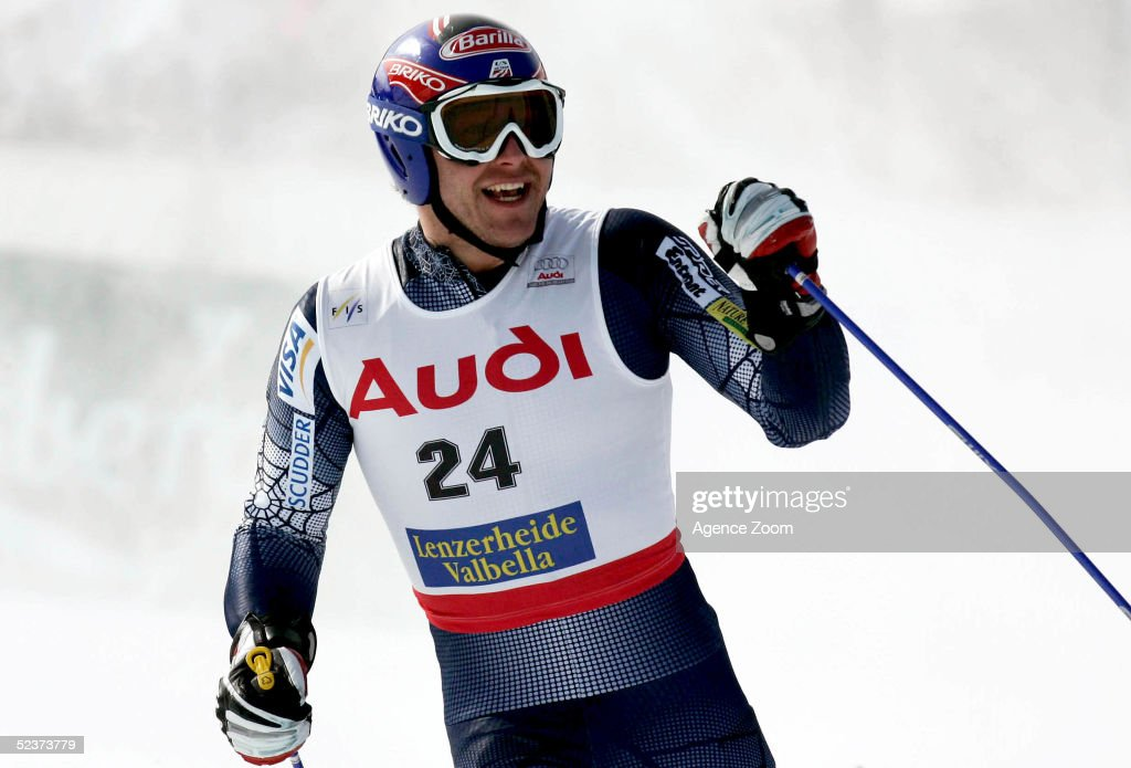 Bode Miller of the USA competes during the Mens Super-G in the FIS Alpine World Cup on March 11, 2005 in Lenzerheide, Switzerland.