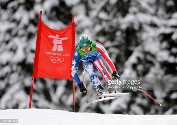 Bode Miller of the USA competes in the Alpine skiing Men's Downhill at Whistler Creekside during the Vancouver 2010 Winter Olympics on February 15...