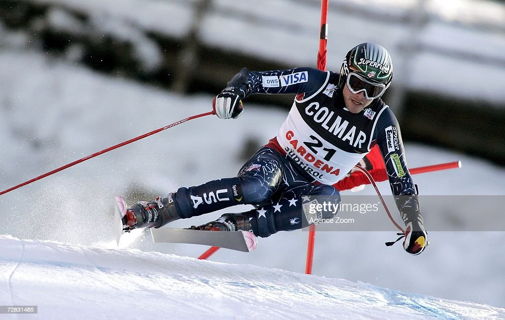 Bode Miller of the USA competes on his way to first place in the FIS Skiing World Cup Men's Super-G on December 15, 2006 in Val Gardena, Italy.