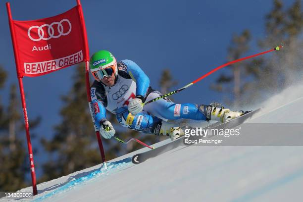 Bode Miller of the USA descends the course during men's downhill training on the Birds of Prey at the Audi FIS World Cup on November 30, 2011 in...