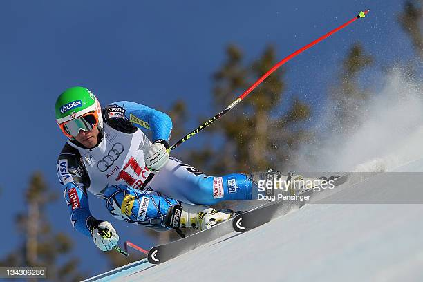 Bode Miller of the USA descends the course during men's downhill training on the Birds of Prey at the Audi FIS World Cup on November 30 2011 in...
