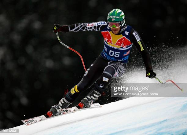 Bode Miller of the USA during the Audi FIS Alpine Ski World Cup Men's Downhill Training on January 21 2010 in Kitzbuehel Austria